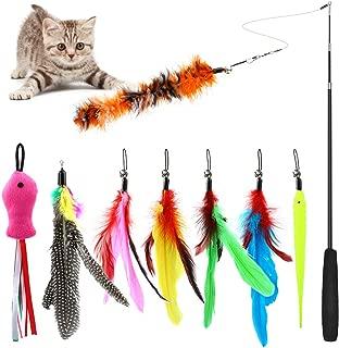 猫じゃらし ねこおもちゃ 猫のおもちゃ じゃれ猫 釣竿(1本)& 羽根(8羽)ぶらぶら ペットグッズ ねこ用品
