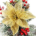 Silk Flower Arrangements N/P 12 Pcs Christmas Glitter Poinsettia Flowers Artificial Silk Flowers Christmas Tree Ornaments for Christmas Party Festival Decoration (Gold)