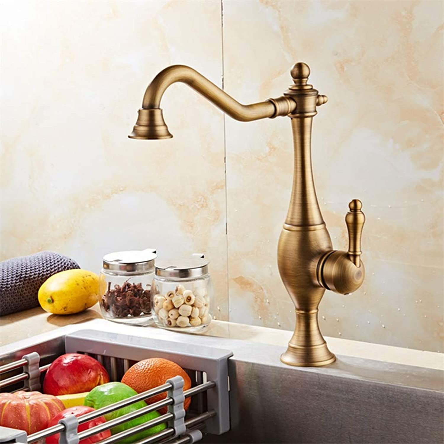 FZHLR Antique Brass Black Kitchen Faucet Mixer Cold and Hot Kitchen Tap Single Hole Water Tap Bathroom Faucets,Antique Bronze