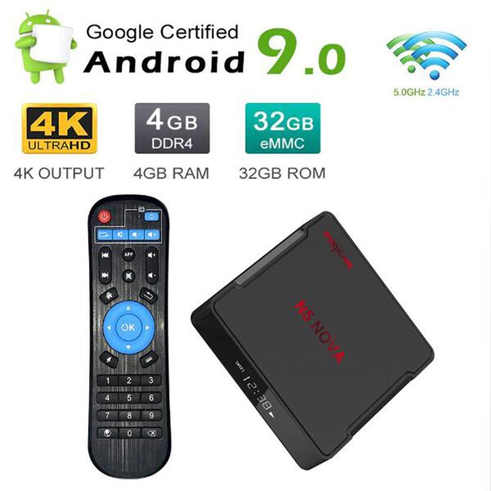 SUNMY Android 9.0 TV Box, Smart TV Box 4GB RAM 64GB ROM, Compatible con WiFi de Doble Banda 5G 2.4G / H.265 4K HDR, Reproductor Multimedia USB 3.0 HDMI 3.0 TV Box,4g+32g: