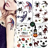 Spider Temporary Tattoos for Women Girls, Scorption Tattoos 4 Sheets for Trick or Treat Bags for Children Birthday Party Favor Fall Festival, VIWIEU Glow in the Dark Waterproof Body Stickers