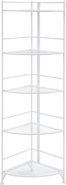 Convenience Concepts Designs2Go X-Tra Storage 5-Tier Folding Metal Corner Shelf, White