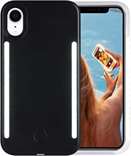 Wellerly iPhone XR Case, LED Illuminated Selfie Light Cell Phone Case Cover [Rechargeable] Dual Light Up Luminous Selfie Flashlight Case for iPhone XR 6.1inch (Black)