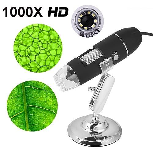 Digital Microscopio USB portatil 1000x endoscopio con zoom para cámara de ordenador con 8 LED compatible con Window y Android