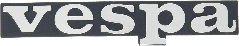 Emblema/Texto 'Vespa' Negro hinterlegt–Letrero para Las piernas 2Pins 120x 18mm Agujeros de 60mm