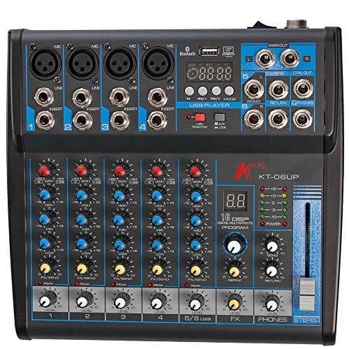K KT-06UP - Mezclador de 6 canales con tarjeta de sonido integrada, efectos, Bluetooth y reproductor MP3