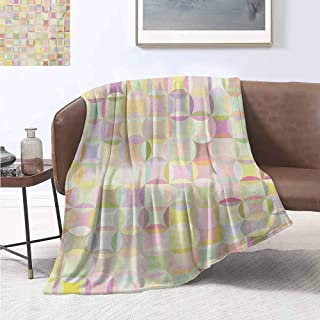 jecycleus Pastel Bedding Microfiber Blanket Retro Pattern with Polka Dots Overlapping Ring Shapes Squares Colorful Funky Print Super Soft and Comfortable Luxury Bed Blanket W54 by L72 Inch Multicolor