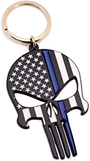 Police Officer Gift - Thin Blue Line Flag Punisher Skull Bottle Opener Keychain - Honoring Law Enforcement - Gift Idea for Cop