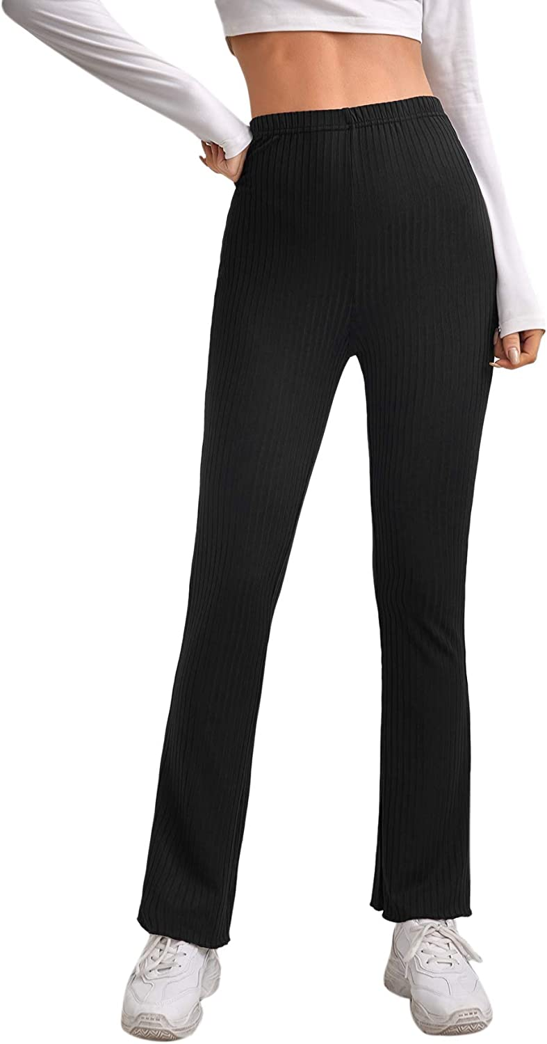 Milumia Women's Casual Elastic High Waisted Ribbed Knit Pants Flared Leg Work Trousers