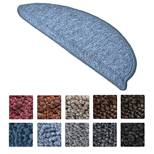 Beautissu Set da 15 tappetini gradini Scale ProStair - 55x15cm - passatoie per gradini e scalini Singoli - Grigio Blu