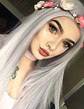 BLUPLE Silky Straight Lace Front Wigs Silver Platinum Gray Trendy Heat Resistant Synthetic Hair Half Hand Tied Wigs for Cosplay Daily Wear (22 inches, Straight,Platinum Gray)