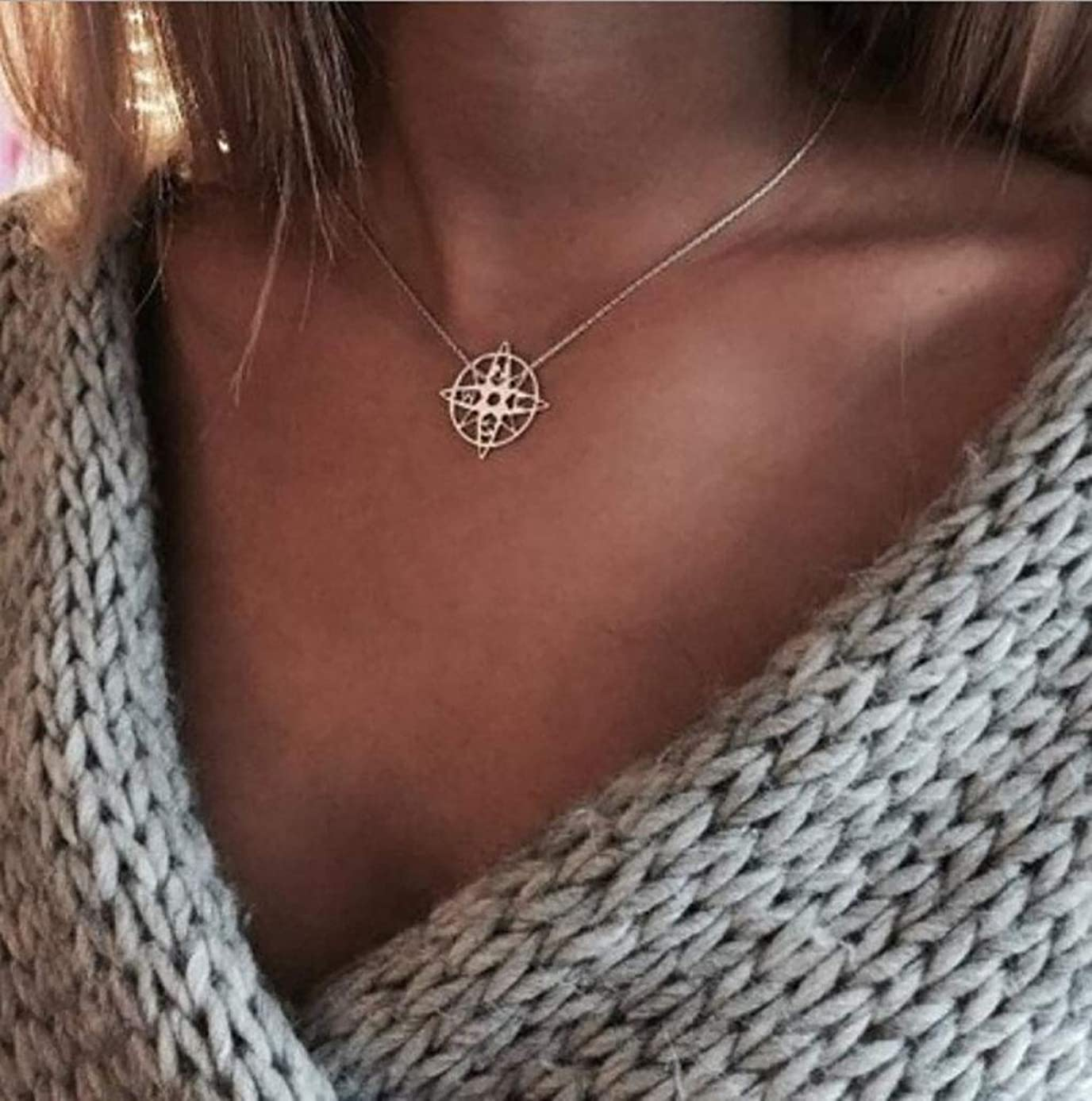 Leiothrix Boho Choker Geometry Star Necklace Pendant Silver Hoop Necklaces Chain Jewelry for Women Girls