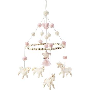 Mud Pie Nursery Crib Unicorn Mobile, Pink, One Size