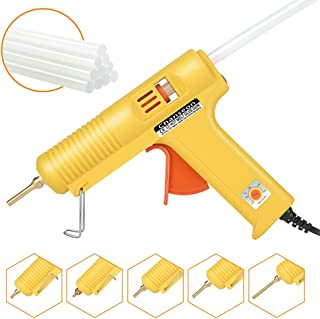 Chanseon 150 watts Industrial Hot Melt Glue Gun US Plug with 10 Pcs Glue Sticks Adjustable Temperature 5 Copper Nozzles for DIY Crafts and Quick Repairs