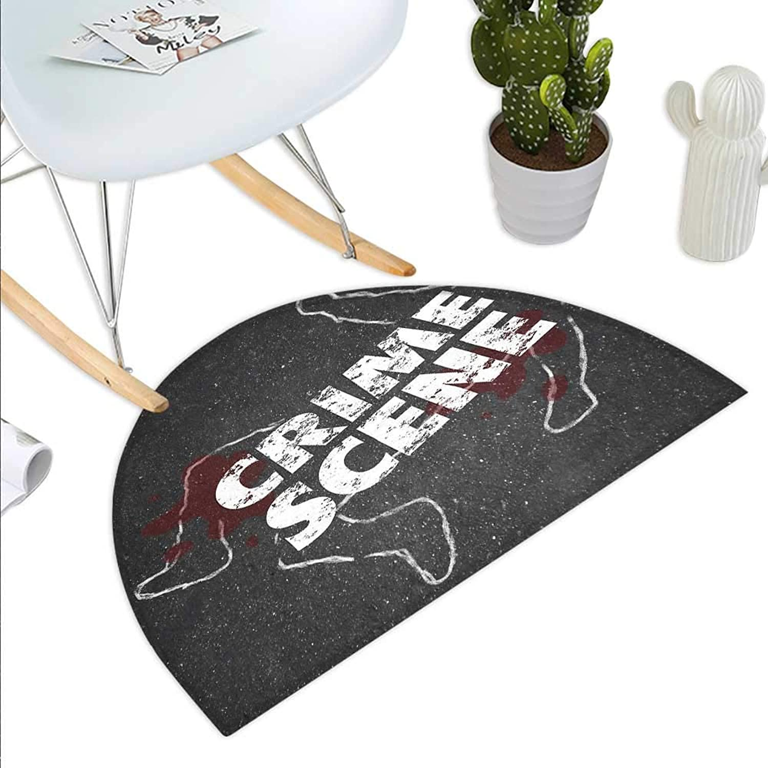 Murder Scene Semicircle Doormat Crime Scene Words on Outline of Victim Homicide Bloody Killing Halfmoon doormats H 43.3  xD 64.9  Charcoal Grey Maroon White