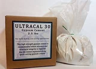 Ultracal 30 Gypsum Cement 2.5 lbs - Plaster - For Mold Making and Casting, Ideal for Latex Molds! Takes Excellent Detail