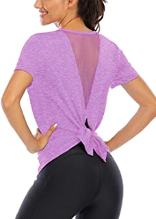 Fihapyli Workout Tops for Women Tie Back Yoga Tops for Women Mesh Muscle Tank Short Sleeve Workout Shirts