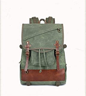 Canvas with Vegetable Tanning Leather Drawstring Dackpack Back Pack Large Capacity Fashion Backpack (Color : Green, Size : 33 * 14 * 45cm)