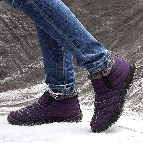 LOSTISY Women Snow Shoes Waterproof Ankle Boots Purple / 5