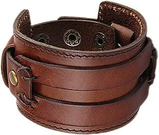 COOLLA Wide Braided Genuine Leather Mens Bracelet Bangle Cuff