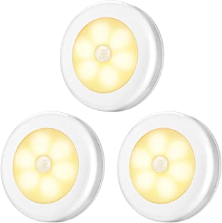 AMIR Upgraded Motion Sensor Light, Cordless Battery-Powered LED Night Light, Stick-Anywhere Closet Lights Stair Lights, Safe Lights for Hallway, Bathroom, Bedroom, Kitchen (Warm White - Pack of 3)