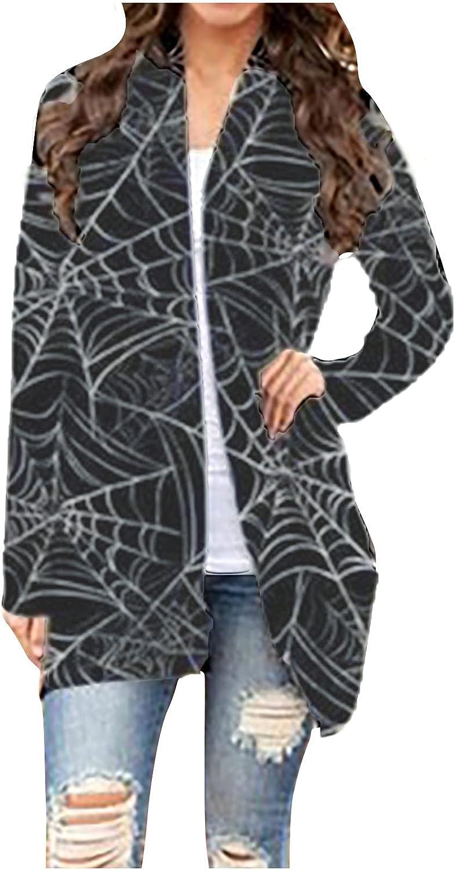 Cardigan Sweaters for Women Open Front Long Sleeve Outwear Halloween Pumpkin Ghost Printed Lightweight Soft Coat