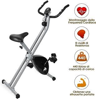 EVOLAND Bicicleta Estática Plegable, Bicicleta Estática de Fitness Multinivel de Resistencia Magnética con Monitor Rítmo C...