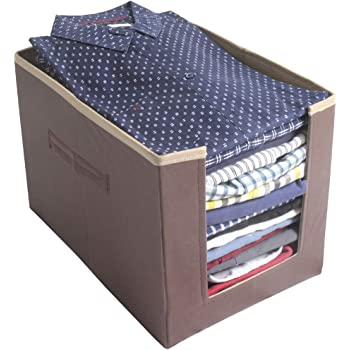 PrettyKrafts Shirt Stacker Closet Organizer - Shirts and Clothing Organizer - Exile - BeigeBrown