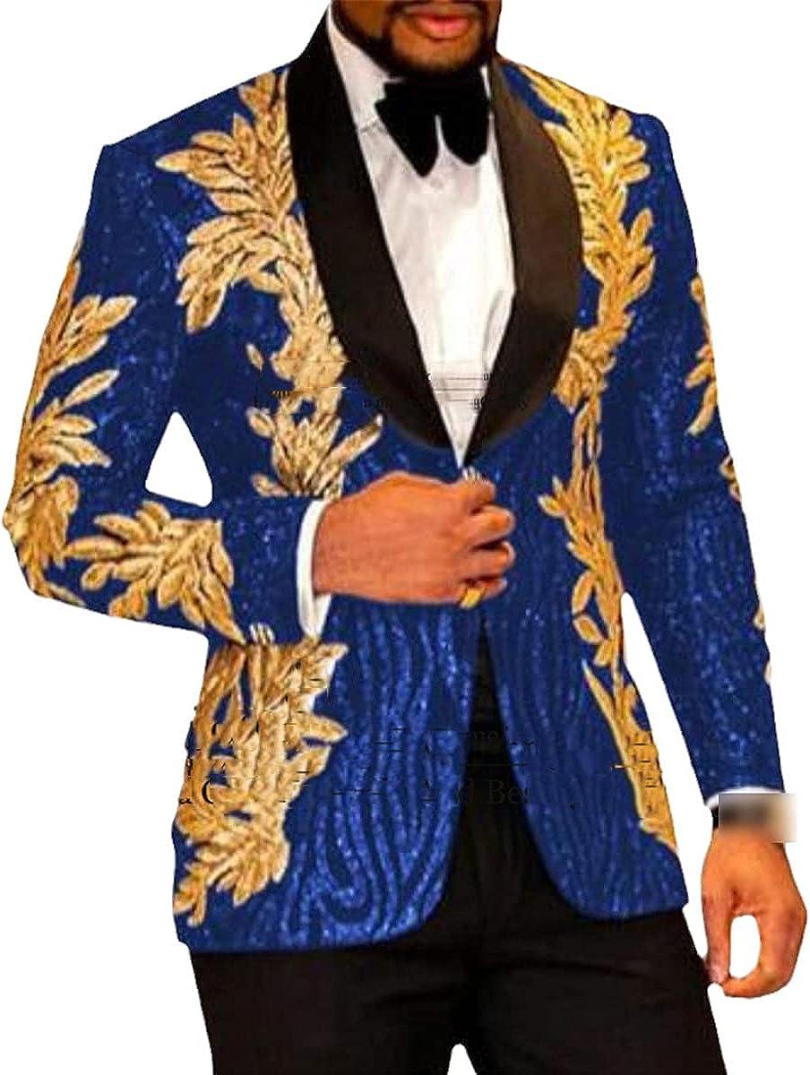 Slim Shining Sequin Gold Applique Suit Men's Prom Dress Groom Suit 2-Piece Set