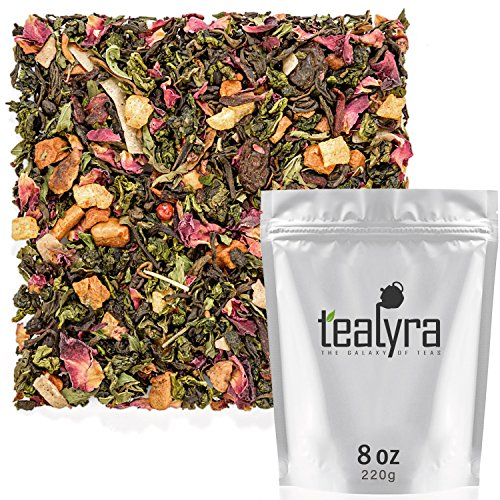 Tealyra - Berry Rose Slenderize - Pu Erh 5 Year Aged with Green Oolong - Loose Leaf Tea Blend - Diet - Weight Loss - Wellness Healthy Tea - All Natural Ingredients - 220g (8-ounce)