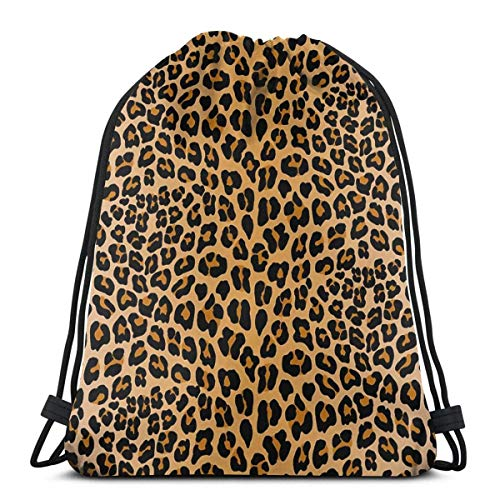 Bigtige Mochila con cordón Bolsa Mochila Deportiva de Gran Capacidad Mochila Escolar 14.5 `` x 16.5 '' Pulgadas Leopard Print