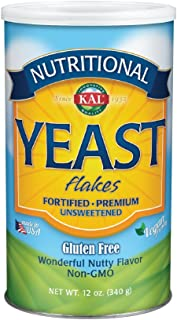 KAL Nutritional Yeast Flakes   Vitamin B12, Vegan, Non-GMO, Gluten Free   Unsweetened, Great Flavor, No Bitter Aftertaste   Great for Cooking   12 oz