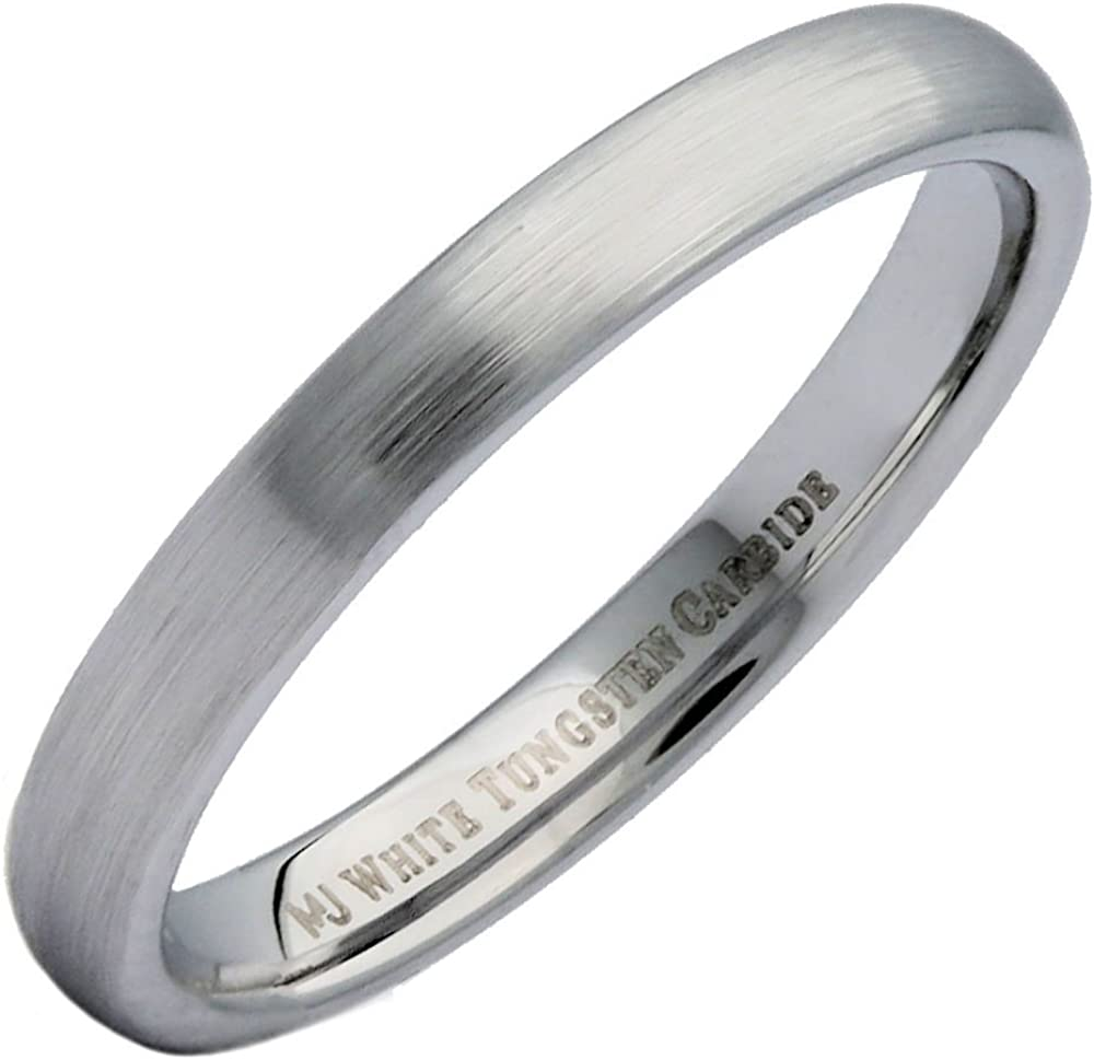 MJ Metals Jewelry Custom Engraved 3mm or 6mm White Tungsten Carbide Brushed Domed Wedding Ring