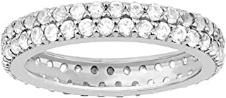 Sterling Silver with White Topaz Double Row Eternity Band Ring