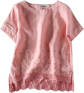Minibee Women's Summer Linen Tunic Shirt High Low Hem Embroidery Blouse Top