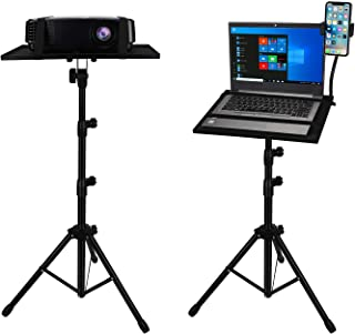 Projector Laptop Tripod, SanLead Portable Projector Tripod Stand, DJ Equipment Stand Holder Mount with Gooseneck Phone Hol...