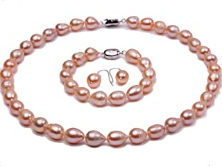 JYX Pearl Necklace Set Oval 9-10mm Pink Freshwater Pearl Necklace Bracelet and Earrings Set