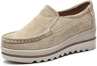 Eagsouni Women Platform Loafers Suede Casual Moccasins