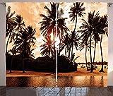 Strandvorhänge, tropisches Ozean, Liebe, Bora, Bora, Insel, Palmen, Kunst für Naturliebhaber, Sonnenuntergang, Wohnzimmer, Schlafzimmer, Fenster, Gardinen, 2 Paneel-Set, 132,1 x 182,9 cm, orangebraun
