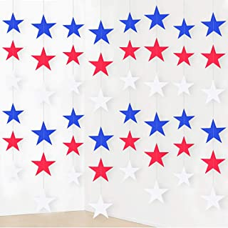 8Pack 4th of July Patriotic Hanging Star Party Decoration Blue Red White for Independence Day Garland Streamers String Curtain