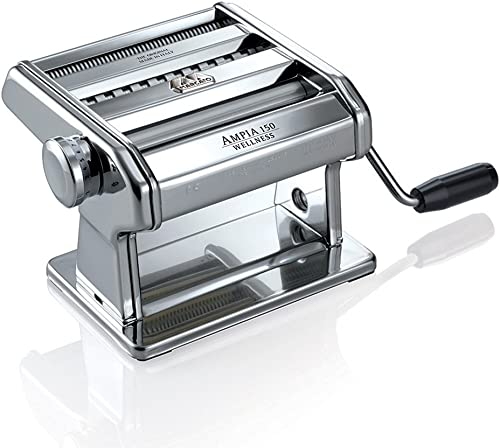 Marcato 8356 Atlas Ampia Pasta Machine, Made In Italy, Chrome Plated Steel, Silver, Includes Pasta Cutter, Hand Crank, & Instructions product image