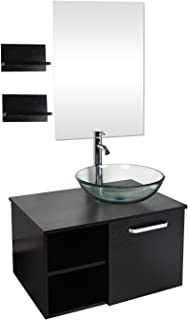 28 Inch Bathroom Vanity Set- Modern MDF Stand Pedestal Cabinet and Vessel Sink Combo with Mirror,Chorme Faucet & Pop-up Drain