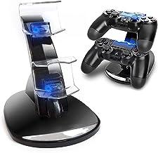 Cargador Mandos PS4,Estación de Carga Doble Cargador Base de Carga Cargador Doble Mando para PS4 Estación de Carga Rápida ...