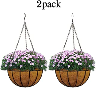 Metal Hanging Planter Basket with Coco Coir Liner Wall Mount Wire Plant Holder for Indoor Outdoor Garden Porch and Balcony (2 Pack) (8 inch)