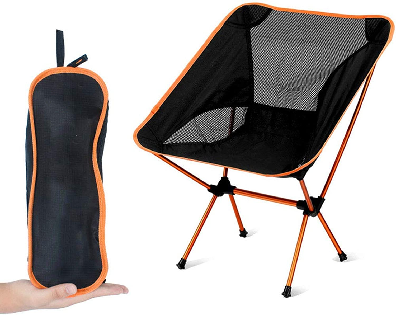 Portable Beach Camping Folding Chairs for Outdoor Mesh Fabric Aluminum Alloy Bracket with Compact Storage Bag 185 KG LoadBearing Ideal for Picnic Fishing