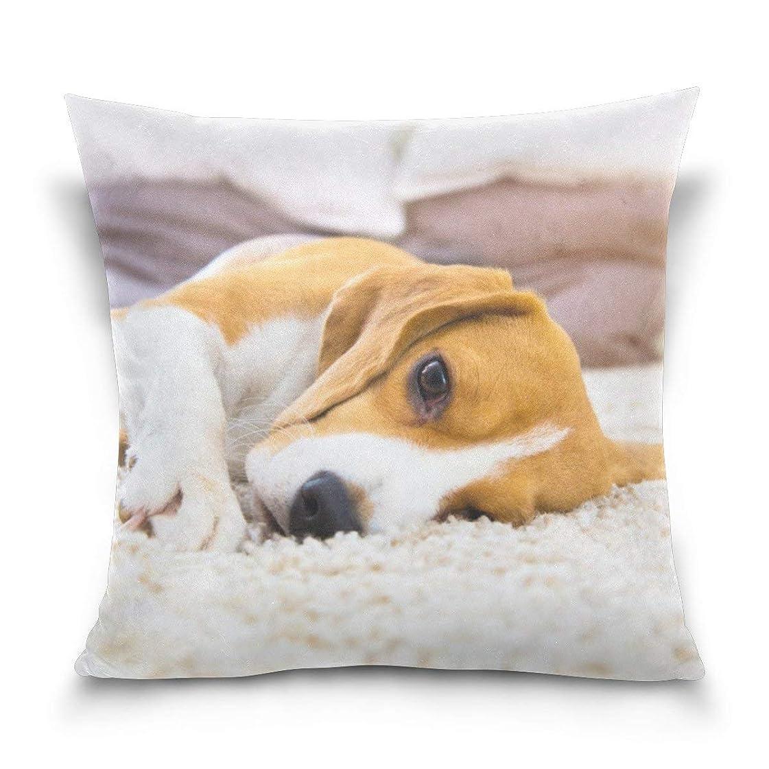 収容するサンドイッチ心配するスロー枕カバーポリエステルクッションケース用ホームソファベッドルームカー20x20インチ犬横になっているカーペットパターン枕カバー