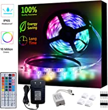 LED Strip Lights Waterproof 16.4ft RGB SMD 5050 LED Rope Lighting Color Changing Full Kit with 44 Keys Remote Controller and 12V Power Supply Strip Lights for Home Bed Room Kitchen Indoor Decoration