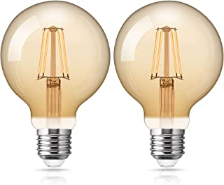 Fulighture Edison Vintage Bombilla, E27 LED Filamento Lámpara, 4W Equivalente a 40W, 400lm, Blanco Cálido 2700K, Bombilla Vintage ideal para nostalgia y retro iluminación, no regulable, 2 unidades