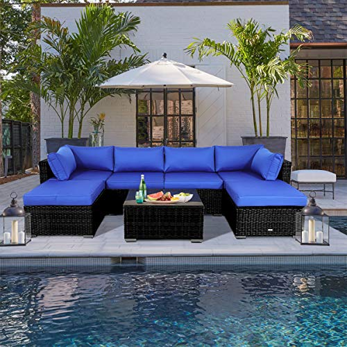 JETIME Outdoor Rattan Sofa Set
