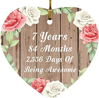 7th Birthday 7 Years 84 Months 2,556 Days of Awesome - Heart Wood Ornament B Christmas Tree Hanging Decor - for Friend Kid...